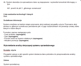 System sklepu internetowego. Dokument Specyfikacji Wymagań.