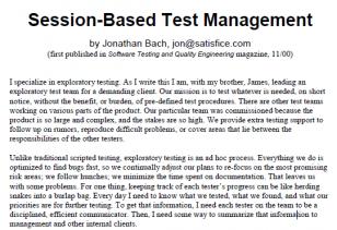 Session-Based Test Management. Pierwsza publikacja.