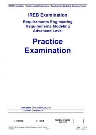 """Egzamin próbny """"IREB Advanced Level - Requirements Modeling"""" (EN)"""