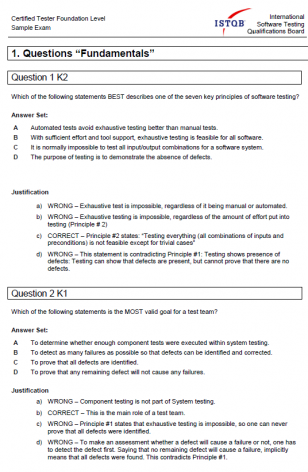 Przykładowy egzamin ISTQB Foudantion Level - ODPOWIEDZI