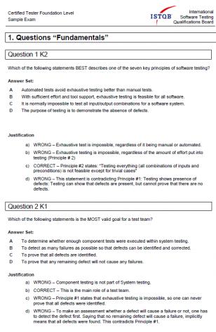 Przykładowy egzamin ISTQB Foudantion Level 2011- ODPOWIEDZI