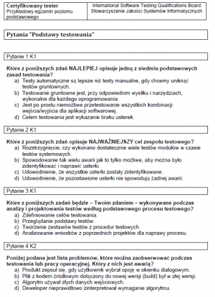 Przykładowy egzamin ISTQB Poziomu Podstawowego