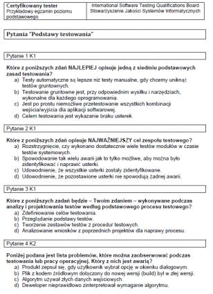 Przykładowy egzamin ISTQB Poziomu Podstawowego 2011